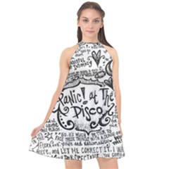 Panic! At The Disco Lyric Quotes Halter Neckline Chiffon Dress
