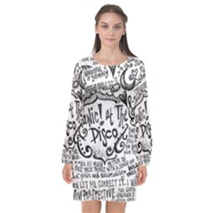 Panic! At The Disco Lyric Quotes Long Sleeve Chiffon Shift Dress