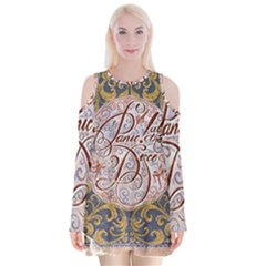 Panic! At The Disco Velvet Long Sleeve Shoulder Cutout Dress
