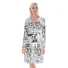 Pierce The Veil Music Band Group Fabric Art Cloth Poster Long Sleeve Velvet Front Wrap Dress