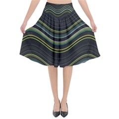 Abstraction Flared Midi Skirt