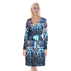 Pierce The Veil Quote Galaxy Nebula Long Sleeve Velvet Front Wrap Dress