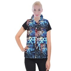 Pierce The Veil Quote Galaxy Nebula Women s Button Up Puffer Vest