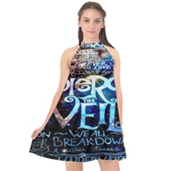 Pierce The Veil Quote Galaxy Nebula Halter Neckline Chiffon Dress