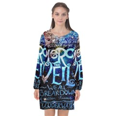 Pierce The Veil Quote Galaxy Nebula Long Sleeve Chiffon Shift Dress