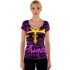 Prince Poster Women s V-Neck Cap Sleeve Top