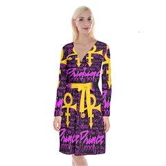 Prince Poster Long Sleeve Velvet Front Wrap Dress