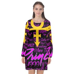 Prince Poster Long Sleeve Chiffon Shift Dress