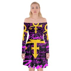 Prince Poster Off Shoulder Skater Dress