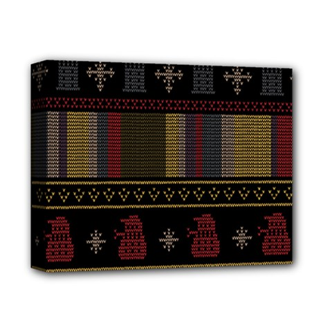 Tardis Doctor Who Ugly Holiday Deluxe Canvas 14  X 11