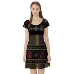 Tardis Doctor Who Ugly Holiday Short Sleeve Skater Dress