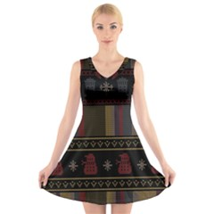 Tardis Doctor Who Ugly Holiday V-Neck Sleeveless Skater Dress
