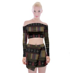 Tardis Doctor Who Ugly Holiday Off Shoulder Top With Skirt Set