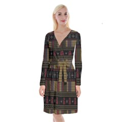 Tardis Doctor Who Ugly Holiday Long Sleeve Velvet Front Wrap Dress