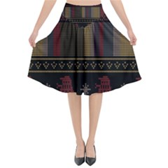 Tardis Doctor Who Ugly Holiday Flared Midi Skirt