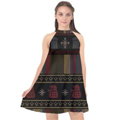 Tardis Doctor Who Ugly Holiday Halter Neckline Chiffon Dress