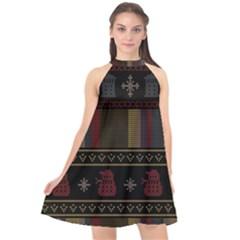 Tardis Doctor Who Ugly Holiday Halter Neckline Chiffon Dress