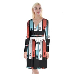 Twenty One 21 Pilots Long Sleeve Velvet Front Wrap Dress