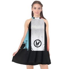 Twenty One 21 Pilots Halter Neckline Chiffon Dress