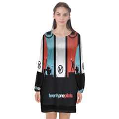 Twenty One 21 Pilots Long Sleeve Chiffon Shift Dress