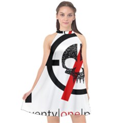 Twenty One Pilots Skull Halter Neckline Chiffon Dress