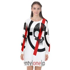 Twenty One Pilots Skull Long Sleeve Chiffon Shift Dress