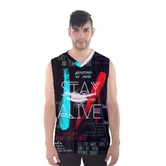 Twenty One Pilots Stay Alive Song Lyrics Quotes Men s Basketball Tank Top