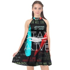 Twenty One Pilots Stay Alive Song Lyrics Quotes Halter Neckline Chiffon Dress