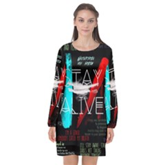 Twenty One Pilots Stay Alive Song Lyrics Quotes Long Sleeve Chiffon Shift Dress