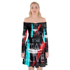 Twenty One Pilots Stay Alive Song Lyrics Quotes Off Shoulder Skater Dress