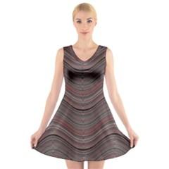 Abstraction V-Neck Sleeveless Skater Dress