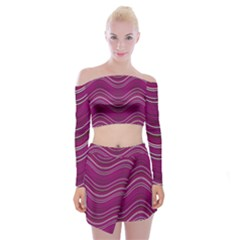 Abstraction Off Shoulder Top With Skirt Set