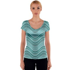 Abstraction Women s V-Neck Cap Sleeve Top