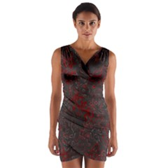 Abstraction Wrap Front Bodycon Dress