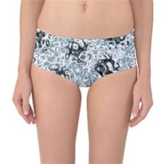Abstraction Mid-Waist Bikini Bottoms
