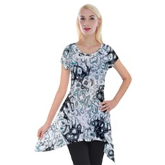 Abstraction Short Sleeve Side Drop Tunic