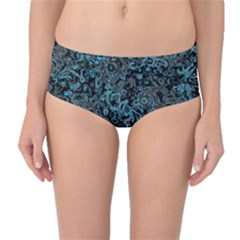 Abstraction Mid-Waist Bikini Bottoms