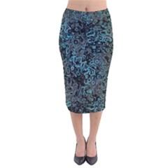 Abstraction Velvet Midi Pencil Skirt