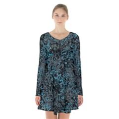 Abstraction Long Sleeve Velvet V-neck Dress