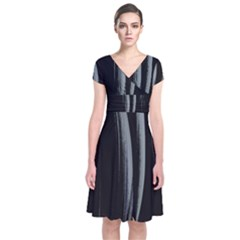 Abstraction Short Sleeve Front Wrap Dress