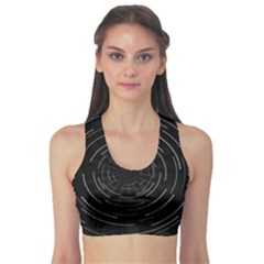 Abstract Black White Geometric Arcs Triangles Wicker Structural Texture Hole Circle Sports Bra