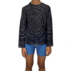 Abstract Black White Geometric Arcs Triangles Wicker Structural Texture Hole Circle Kids  Long Sleeve Swimwear