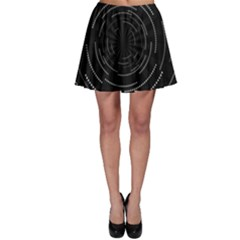 Abstract Black White Geometric Arcs Triangles Wicker Structural Texture Hole Circle Skater Skirt