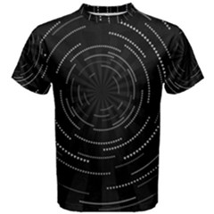 Abstract Black White Geometric Arcs Triangles Wicker Structural Texture Hole Circle Men s Cotton Tee