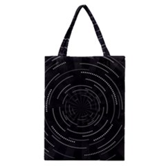 Abstract Black White Geometric Arcs Triangles Wicker Structural Texture Hole Circle Classic Tote Bag
