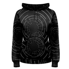 Abstract Black White Geometric Arcs Triangles Wicker Structural Texture Hole Circle Women s Pullover Hoodie