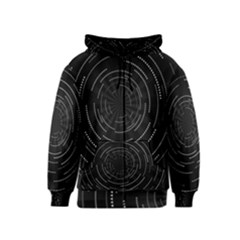 Abstract Black White Geometric Arcs Triangles Wicker Structural Texture Hole Circle Kids  Zipper Hoodie