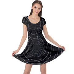 Abstract Black White Geometric Arcs Triangles Wicker Structural Texture Hole Circle Cap Sleeve Dresses