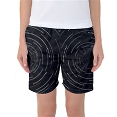 Abstract Black White Geometric Arcs Triangles Wicker Structural Texture Hole Circle Women s Basketball Shorts