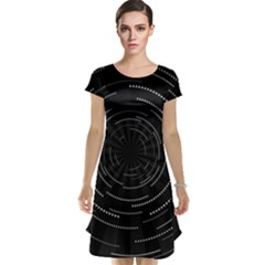 Abstract Black White Geometric Arcs Triangles Wicker Structural Texture Hole Circle Cap Sleeve Nightdress